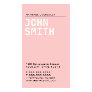 Plain Pink Marriage Counseling Business Card