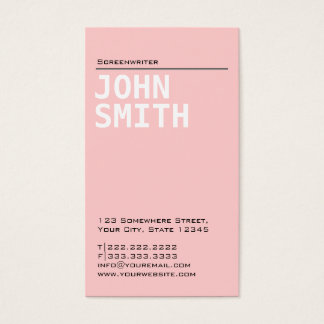 Plain Pink Screenwriter Business Card