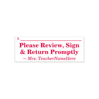 "Plain ""Please Review, Sign & Return Promptly"" Self-inking Stamp"