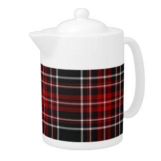 Plain Red Plaid Tartan Teapot
