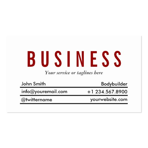 Plain Red Title Bodybuilding Business Card