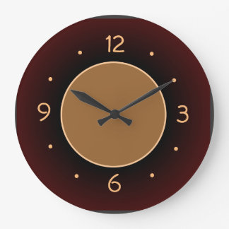 Plain RedBrown with Tan Centre  Kitchen Clock