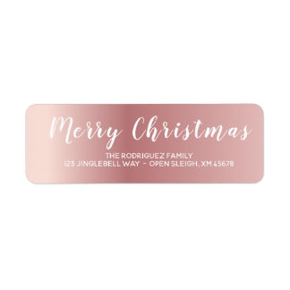 Plain Rose Gold Merry Christmas Calligraphy