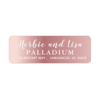 Plain Rose Gold Return Address Labels Calligraphy
