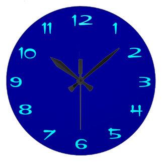 Plain Royal Blue and Aqua > Plain RoundClocks Large Clock