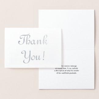 "Plain Silver Foil ""Thank You!"" Card"