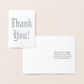 "Plain Silver Foil ""Thank You!"" Card"