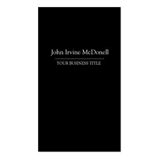 Plain & Simple Black Vertical Business Card
