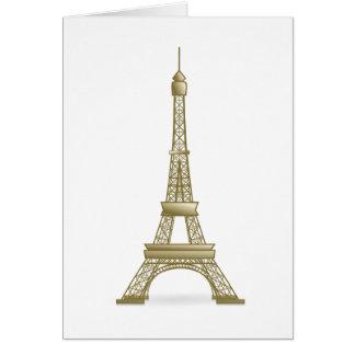 Plain Simple Bronze Color Eiffel Tower Monument Card