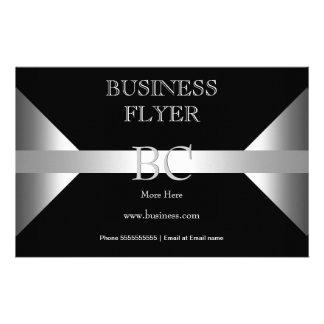 Plain Simple Silver Black White Monogram 4D3 Flyer Design