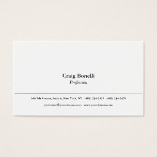 Plain Simple White Minimalist Modern Professional Business Card