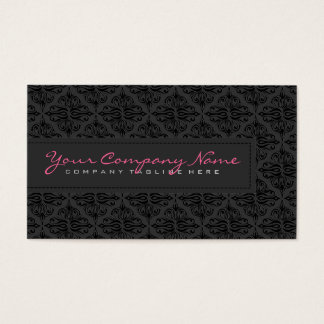 Plain Slick BlackMonochromatic Vintage Damask Business Card
