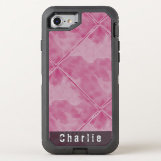 Plain Tile Ceramic Surface Pink any Text OtterBox Defender iPhone 8/7 Case