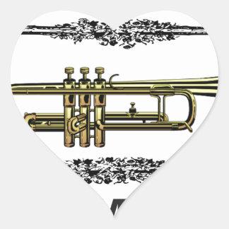 plain trumpet heart sticker