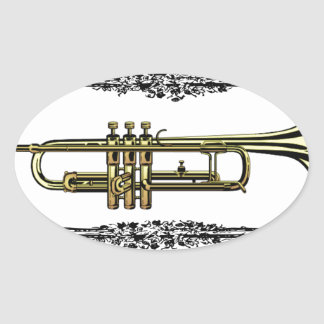 plain trumpet oval sticker