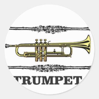 plain trumpet round sticker