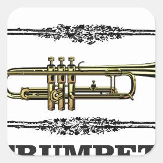 plain trumpet square sticker