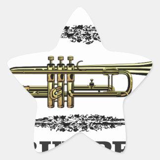 plain trumpet star sticker