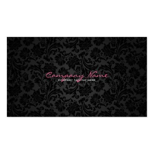 Plain White & Black Vintage Floral Damasks Business Card Templates