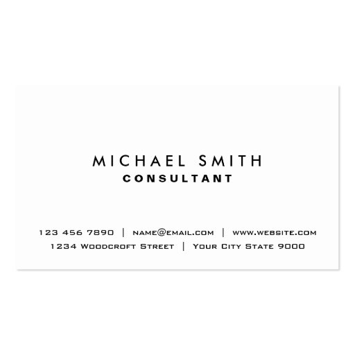 Plain White Elegant Professional Modern Simple Business Cards
