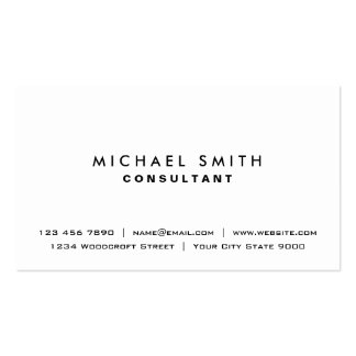Plain White Elegant Professional Modern Simple Pack Of Standard Business Cards