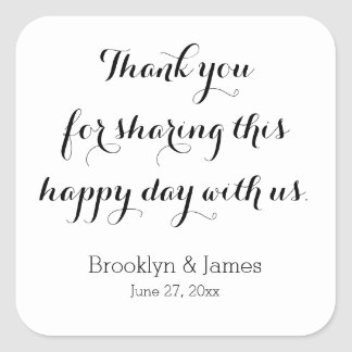 Plain White Thank You Wedding Stickers