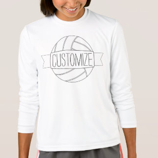 Plain White Volleyball Girl Custom Text Team Shirt