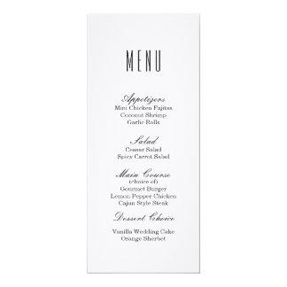 Plain White | Wedding Dinner Menu Card