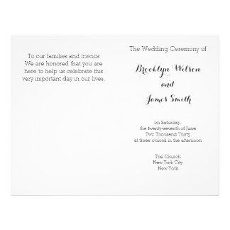 Plain White Wedding Programs Flyer