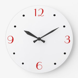 Plain White with Red > Simplistic Wall Clocks