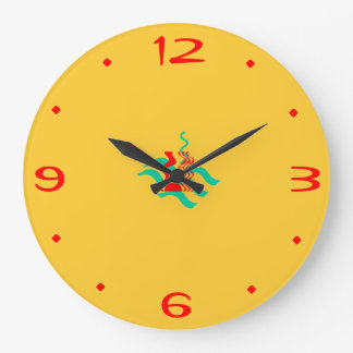 Plain Yellow and Red >Kitchen Clocks