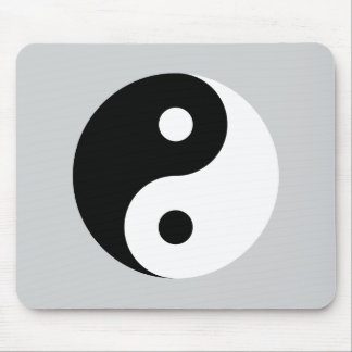Plain Yin Yang Symbol on Light Grey Mouse Pad