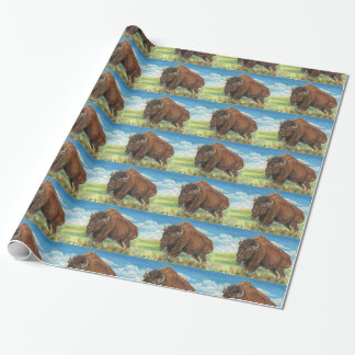 Plains Bull Buffalo American Bison Wildlife Art Wrapping Paper