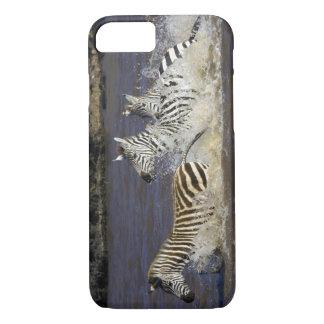 Plains Zebra (Equus quagga) running in water, iPhone 7 Case