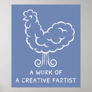 Plaisanterie folle de graphique de poulet de pet poster