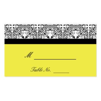 Plaisir de damassé dans les cartes jaune citron modèle de carte de visite