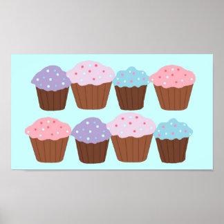 Plaisir de petit gâteau avec la frontière rose poster