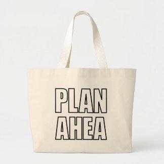 PLAN AHEA in black Tote Bags