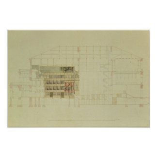 Plan for the Dresden Royal Theatre, c.1838 Print