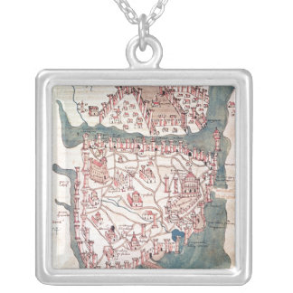 Plan of Constantinople Silver Plated Necklace