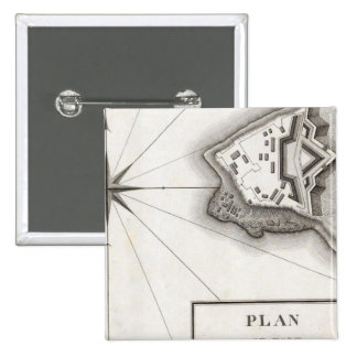 Plan of Fort Niagara 2 Inch Square Button
