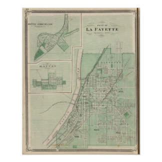 Plan of La Fayette with Battle Ground City Poster