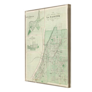 Plan of La Fayette with Battle Ground City Stretched Canvas Prints