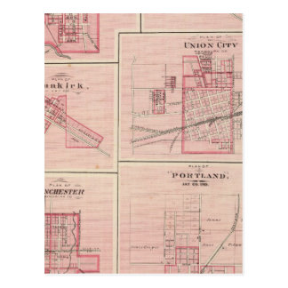 Plan of Portland, Jay Co, Ind with Camden Postcard