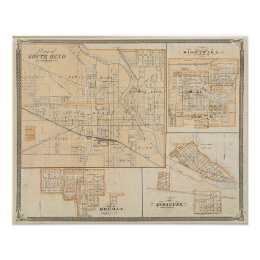Plan of South Bend with Mishawaka Poster