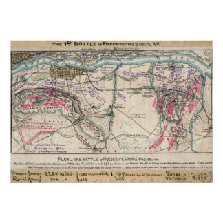 Plan of the Battle of Fredericksburg Poster