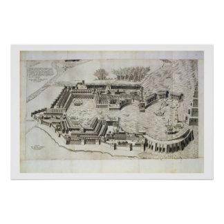 Plan of the port of Ostia Antica, engraved by the Poster