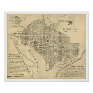 Plan of Washington DC Map 1792 Poster