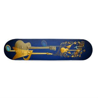 Planche à roulettes de partie de guitare d'or