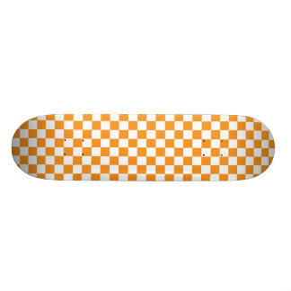 Planche à roulettes orange et blanche de damier skateboard 20,6 cm